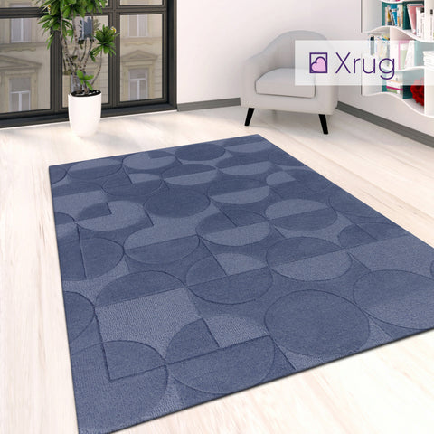 Navy Blue Rug Plain Geometric Pattern Living Room Bedroom Carpet Mat Large Small