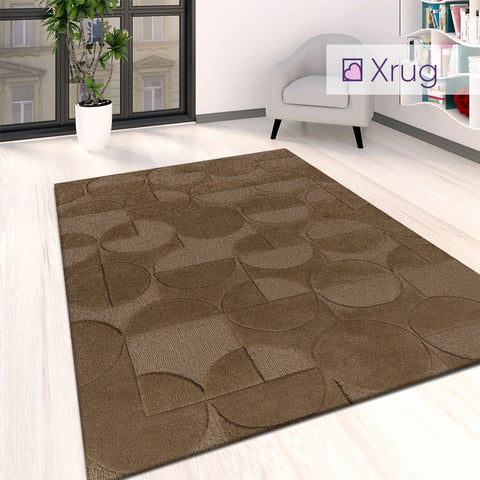 Brown Patterned Rug Plain Living Room Bedroom Geometric Carpet Mat Large Small