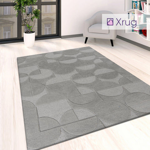 Grey Rug Bedroom Living Room Plain Circle Tufted Pattern Large Small Carpet Mat