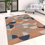 Modern Rug Navy Beige Cream Multi Coloured Living Room Large Small Carpet Mat