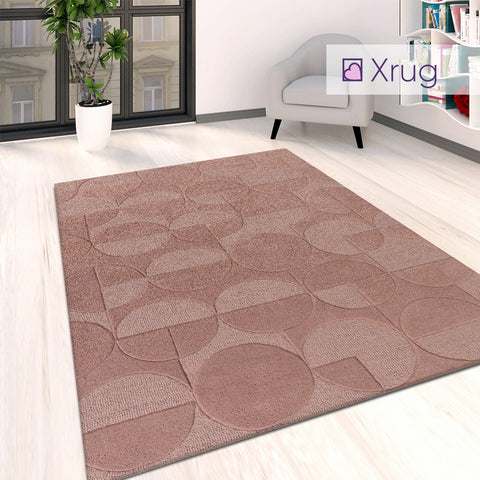 Dusky Pink Rug Geometric Dusty Plain Circle Pattern Woven Carpet Large Small Mat