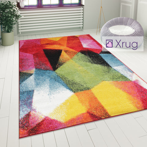 Multi Colour Rug Modern Abstract Pattern Carpet Small Large Bedroom Lounge Mats
