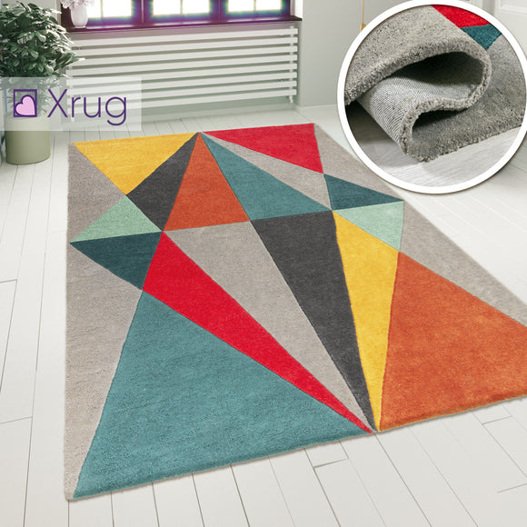 Multi Colour Rug Modern Geometric Pattern Mat Small Large Living Room Carpet New Bedroom Area Lounge Short Pile Contemporary Designer Woven Polyester