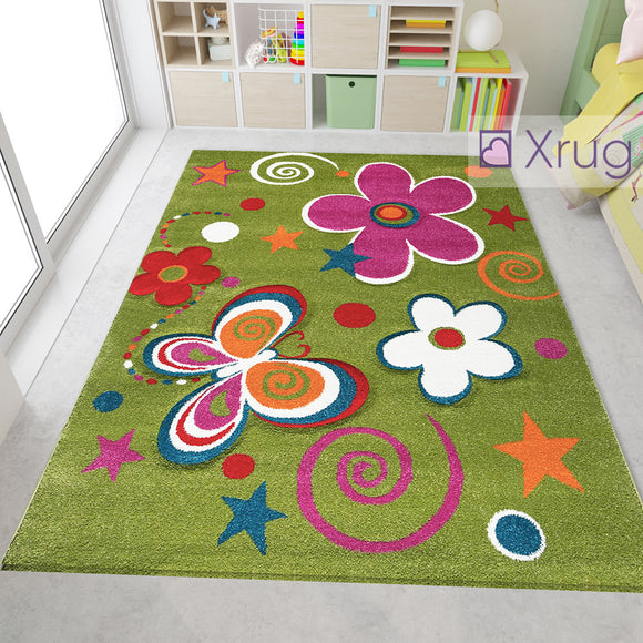 Multi Colour Rug for Kids Green Purple Floral Butterfly Hand Carved Contour Cut Pattern Carpet Childrens Bedroom Play Floor Mat Nursery Baby Boys Girls Unisex