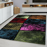 Multi Colour Rug New Modern Geometric Pattern Check Carpet Bedroom Area Hall Mat