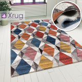 Multicoloured Rug Abstract Geometric Pattern Carpet Modern Wool Rug Bedroom Area Mat Small Extra Large Hall Mat Living Room Lounge Woven Short Pile Contemporary Floor New