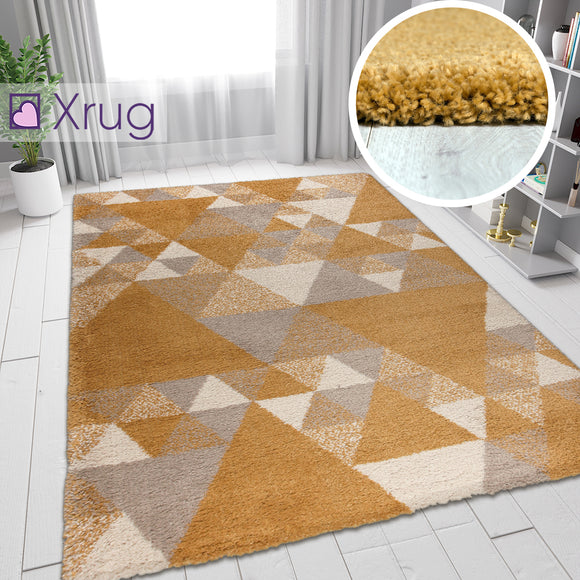 Mustard Grey Rug Thick Pile Geometric Rugs Carpets Living Room Mat Small X Large