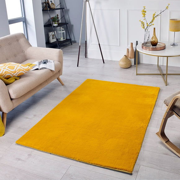 Mustard Rug Super Soft Plain Living Room Bedroom Carpet Short Pile Area Mat