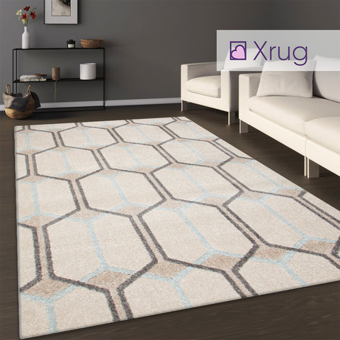 Cream Trellis Rug Geometric Grey Blue Pattern Large Small Runner Woven Room Mat