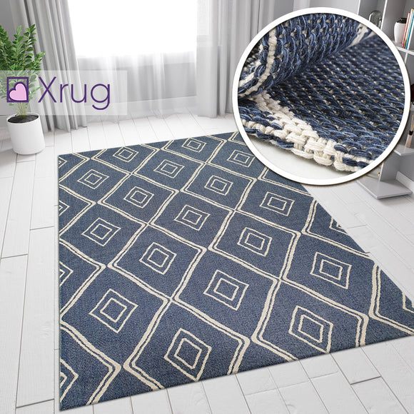 100% Cotton Rug Navy Blue Diamond Pattern Washable Flat Weave Mat Carpet Small Extra Large Runner