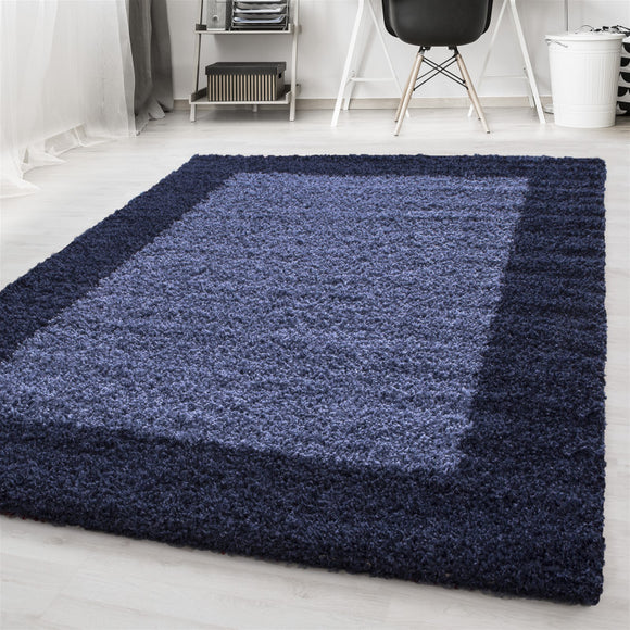 Navy Blue Fluffy Rug Deep Pile Shaggy Modern Pattern Round Mat Bedroom Lounge Carpet