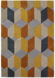 Ochre Mustard Grey Beige Rug Contour Cut Geometric Pattern Carpet Room Area Mat