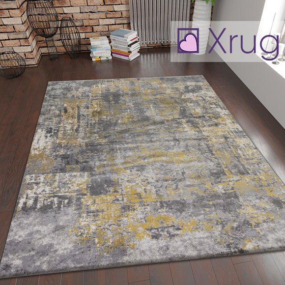 Ochre Grey Rug Oil Painting Abstract Mat Small Large Bedroom Carpet Contemporary Modern Patterned Carpet Living Room Bedroom Area Lounge Mats Woven Polypropylene Heatset Short Low Pile 120x170 160x230 80x150