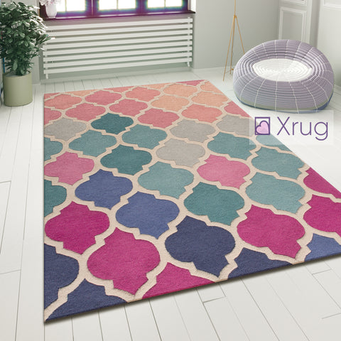 Oriental Wool Rug Pink and Blue Modern Pattern Carpet Living Room Lounge Mat New