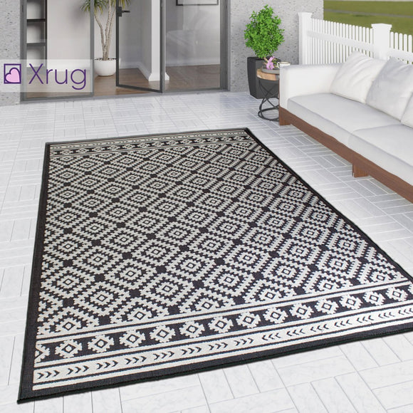 Outdoor Rug Black and White Cream Diamond Large XL Small for Garden Patios Decking Gazebo Soft Woven Geometric Mat
