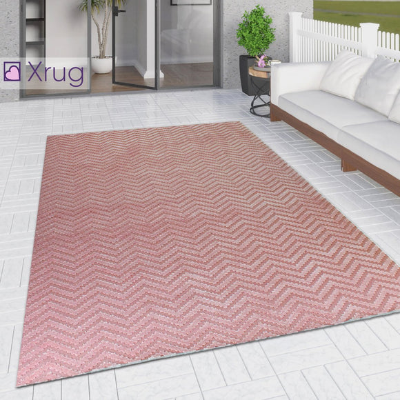 Outdoor Rug Large XL Small Dusky Pink Zig Zag  Chevron for Garden Patios Decking Gazebo Woven Soft Geometric Mat