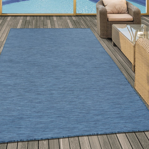 Outdoor Rug Modern Blue Hard Wearing Area Carpets Small Large Indoor Garden Mat