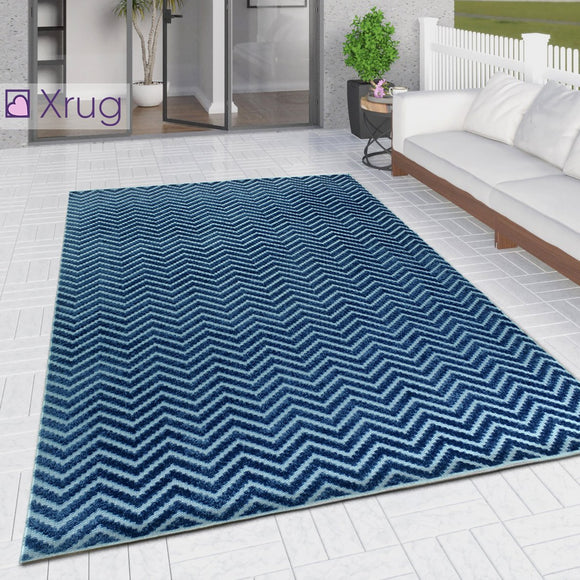 Outdoor Rug Navy Blue with Light Blue Chevron Zig Zag Decking Garden Patio Gazebo Large Small Soft Geometric Mat