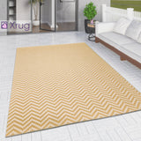 Outdoor Rug Yellow Cream Zig Zag Chevron for Decking Garden Patios Gazebo Large XL Small Woven Soft Geometric Mat