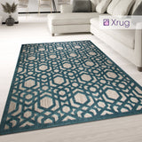 Teal Rug Blue Beige Carpet Large Small Runner Round Flat Weave Trellis Room Mat