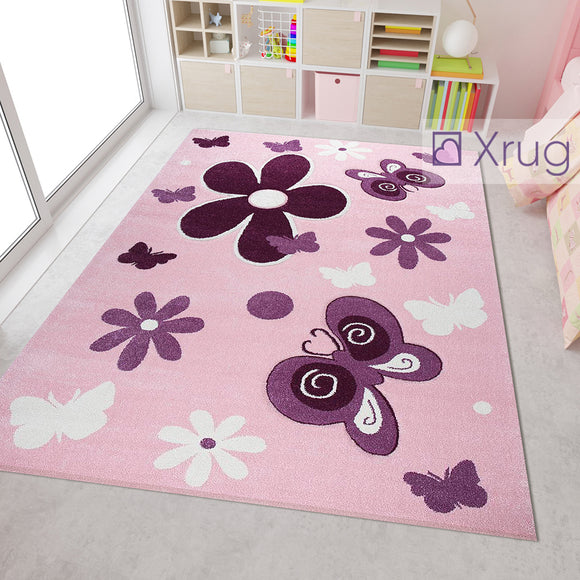 Pink Childrens Rug Purple Floral Butterfly Hand Carved Contour Cut Pattern Carpet Kids Girls Play Room Bedroom Mat Baby Nursery Boys Girls Unisex