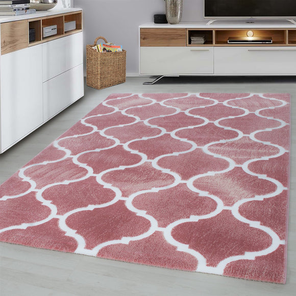 Pink Oriental Rug Modern Contour Cut Patterned Carpet Small Large Room Floor Mat