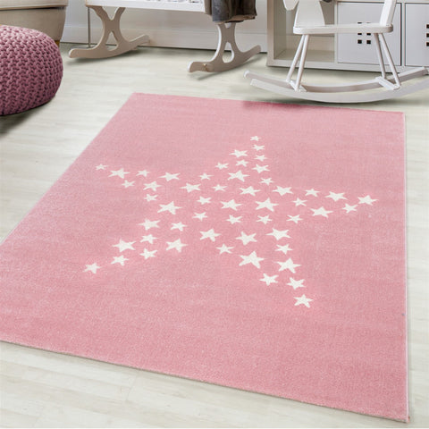 Kids Animal Rug Pink Cream White Stars Pattern Childrens Bedroom Play Room Floor Mat Baby Nursery Girls Boys Unisex Stars Carpet Small Large 120x170 160x230 80x150 120 160 Round Polypropylene Friese Short Low Pile