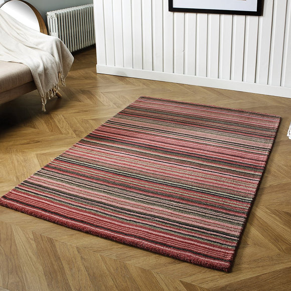 Wool Rug Handmade Pink Modern Striped Living Room Bedroom Carpet Thick Mat Runner New