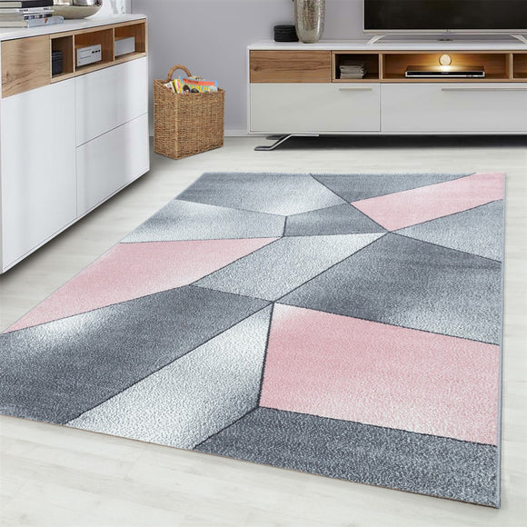 Grey Pink Black Rug Modern Designer Abstract Geometric Patterned Small X Large Room Runner Hallway Carpet Living Room Bedroom Area Lounge Mats Woven Polypropylene Heatset Short Low Pile 120x170 200x290 160x230 80x150