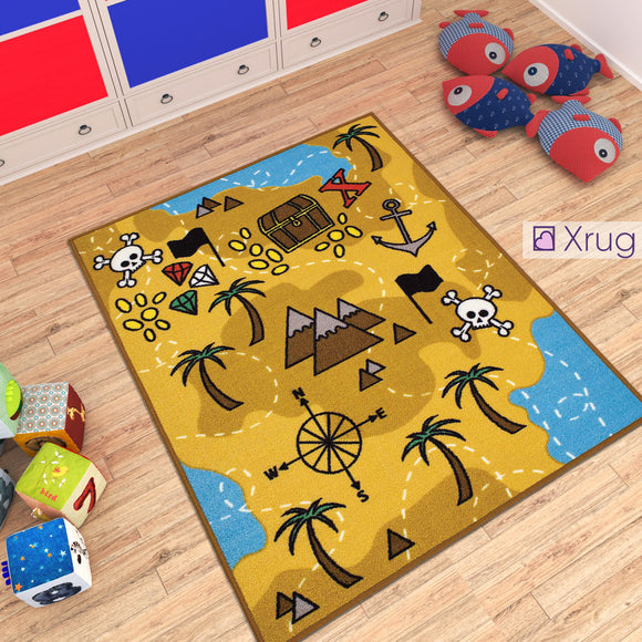 Kids Rug Boys NON SLIP MACHINE WASHABLE Pirate Tresure Nursery Mat for Bedroom Playroom 130x100cm