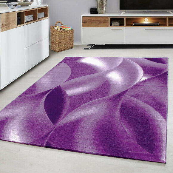 Contemporary Modern Abstract Rug Purple White Cream Patterned Carpet Small Extra Large XL Living Room Bedroom Area Lounge Mats Woven Short Low Pile 120x170 200x290 160x230 80x150 80x300