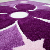 Purple Floral Rug Butterfly Star Kids Hand Carved Contour Cut Pattern Carpet Children Bedroom Play Room Mat Nursery Baby Boys Girls Unisex