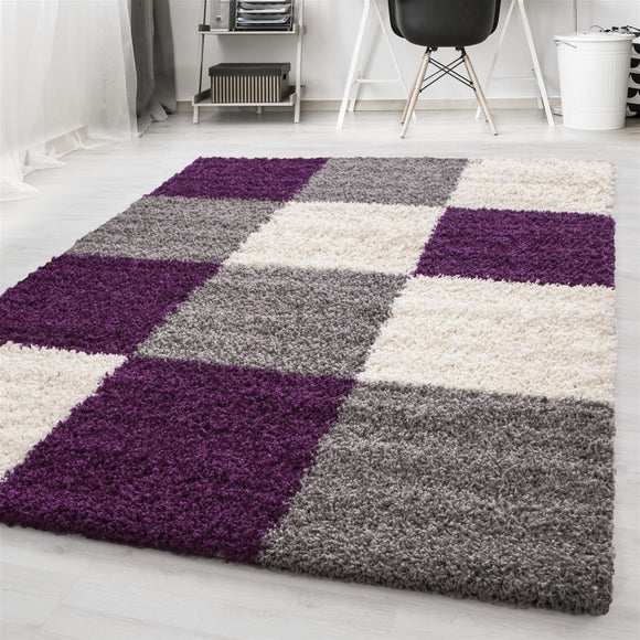 Purple Fluffy Rug Lila Grey Cream Deep Pile Shaggy Mat Bedroom Check Carpet New