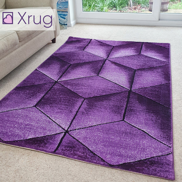 Purple Rug Geometric Patterned Rugs New 3D 80 x 150 120 x 170 160 x 230 200 x 290 Carpet Small Extra Large XL Living Room Bedroom Area Lounge Mats Woven Polypropylene Heatset Short Low Pile Hallway Runner