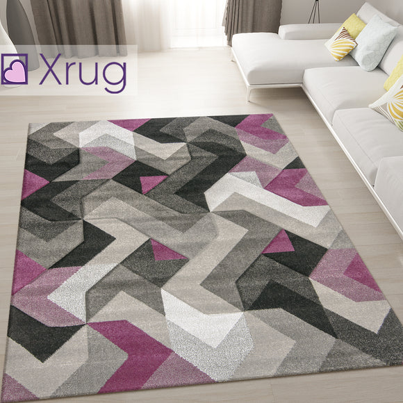 Purple and Grey Rug Abstract Hand Carved Pattern Carpet Small X Large Room Mat