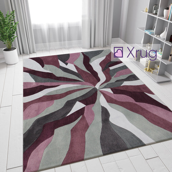 Purple and Grey Rug Modern Abstract Contour Cut Pattern Mat Low Pile Area Carpet