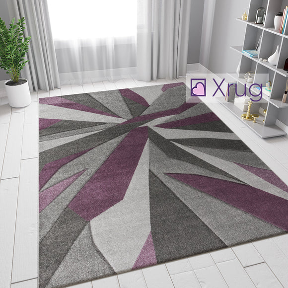 Purple and Grey Rug Modern Contour Cut Pattern Carpet Small X Large Bedroom Mat