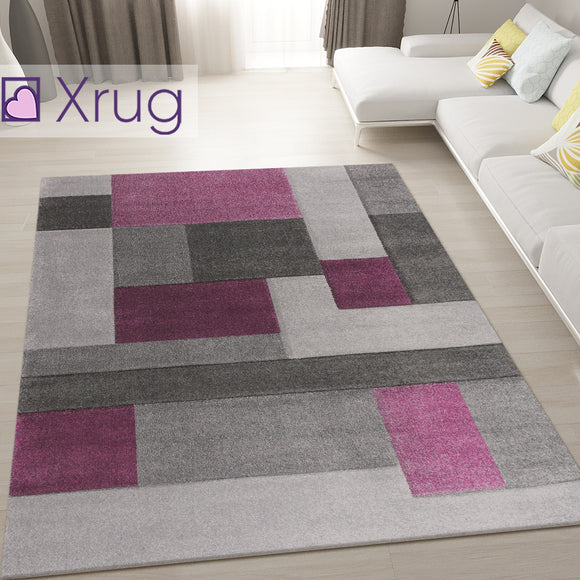 Purple and Grey Rug Modern Geometric Hand Carved Pattern Carpet Bedroom Area Mat