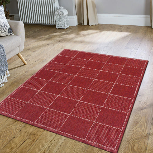 Anti Slip Living Room Rug Red Check Pattern Large Small Runner Carpet Mat