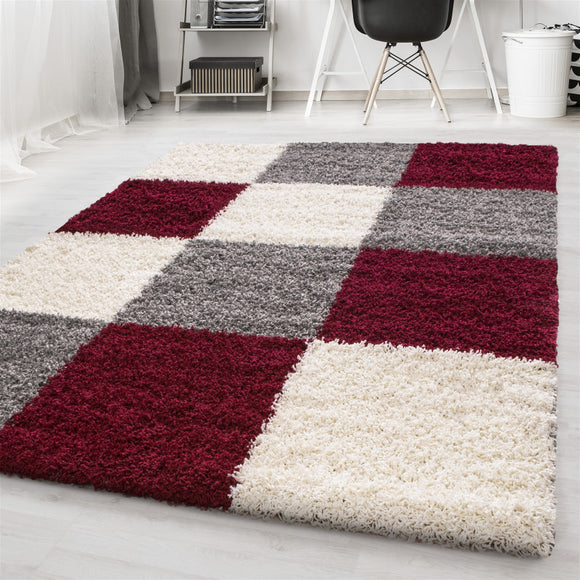 Red Fluffy Rug Grey Cream Geometric Pattern Shaggy Floor Carpet Living Room Mat