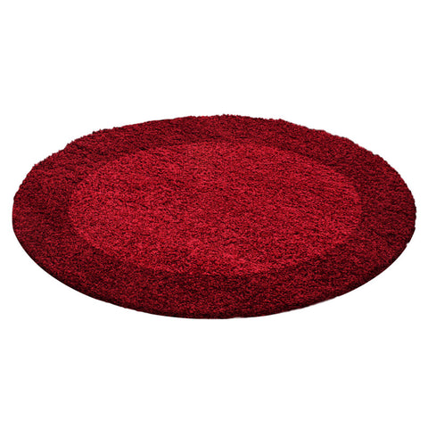 Red Rug Modern Border Design Fluffy Shaggy Floor Mat High Pile Room Hall Carpets