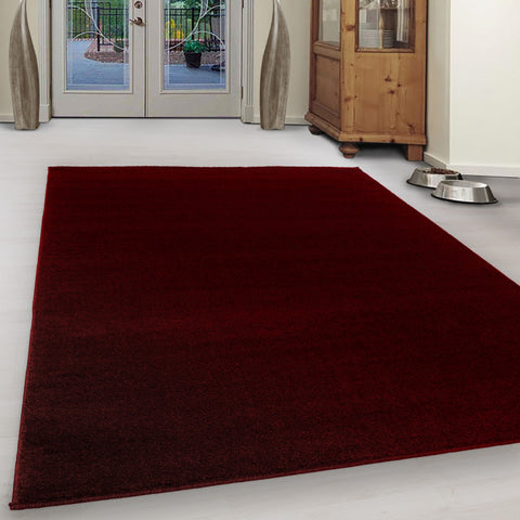 Red Rug Modern Contemporary Small X Large Round Plain Carpet Mat for Living Room Bedroom Area Lounge Floor