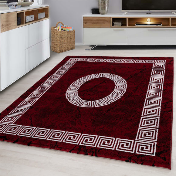 Modern Red Rug White Cream Geometric Pattern Border Design Carpet Bedroom Living Room Runner Hallway Mat Oriental Contemporary Small Extra Large