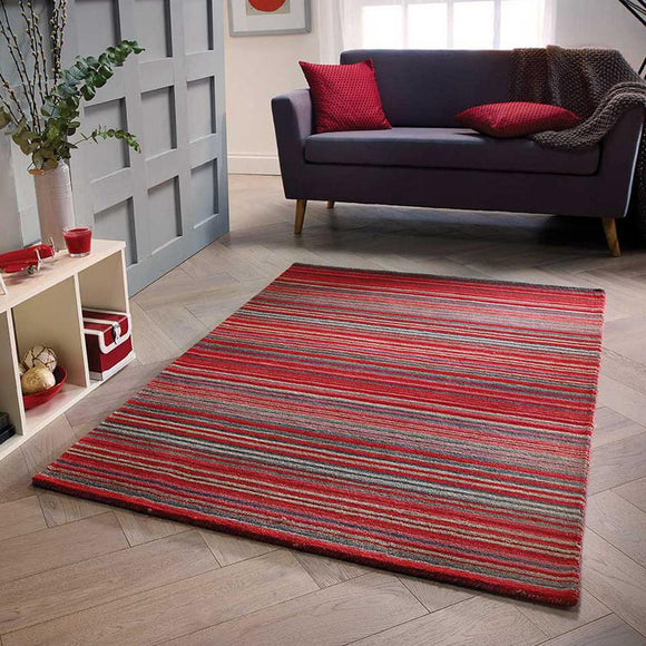 Wool Rug Handmade Red Modern Striped Living Room Bedroom Carpet Thick Mat Runner New