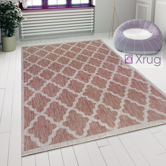Red and Beige Rug Flat Woven Outdoor Garden Carpet Hard Wearing Floor Runner Mat