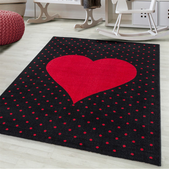 Kids Rug Red Black Heart Pattern Childrens Bedroom Play Room Floor Mat Baby Nursery Girls Boys Unisex Stars Carpet Small Large 120x170 160x230 80x150 120 160 Round Polypropylene Friese Short Low Pile