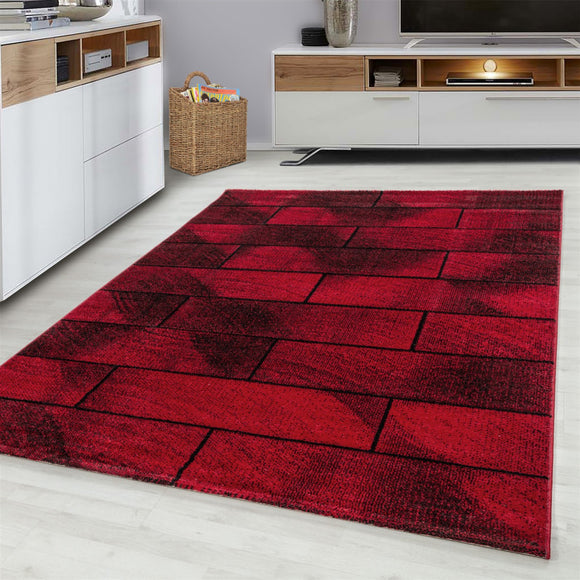Red Black Brick Wall Rug Modern Designer Abstract Geometric Patterned Small X Large Room Runner Hallway Carpet Living Room Bedroom Area Lounge Mats Woven Polypropylene Heatset Short Low Pile 120x170 200x290 160x230 80x150