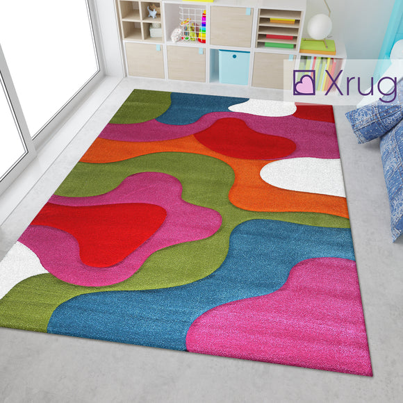Kids Playroom Rug Multi Colour Bright Colourful Red Green Blue Purple Orange Cream White Hand Carved Contour Cut Pattern Mat Childrens Bedroom Carpet Large Small Baby Girls Boys Unisex Abstract Polypropylene Frisee
