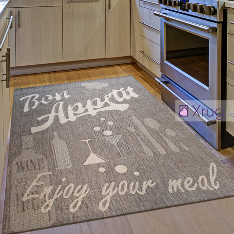 Rug for Kitchen Brown Sisal Look Bon Appetit Pattern Carpet New Hard Wearing Mat