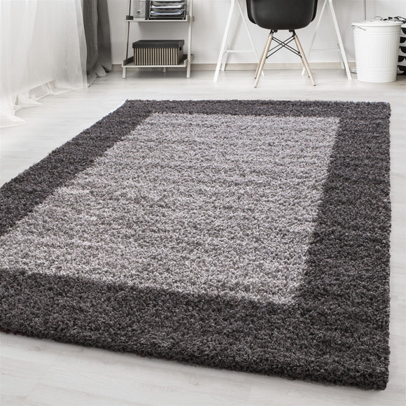 Shaggy Rug Grey Fluffy Border Design Mat Long Pile Small X Large Bedroom Carpet